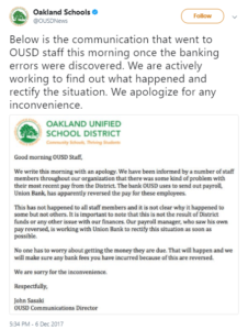 Screenshot of tweet sent from Oakland Schools District after human error led to payday processing issue