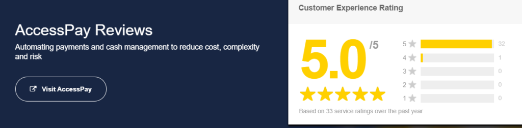 AccessPay's five-star review rating on Feefo